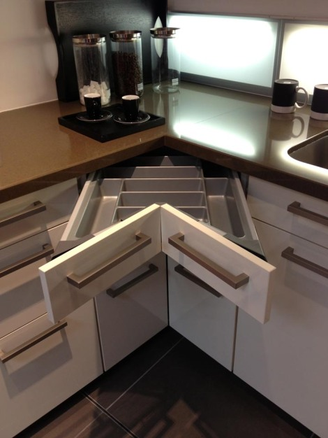 Ingenious corner drawers. Just one of a zillion storage options.