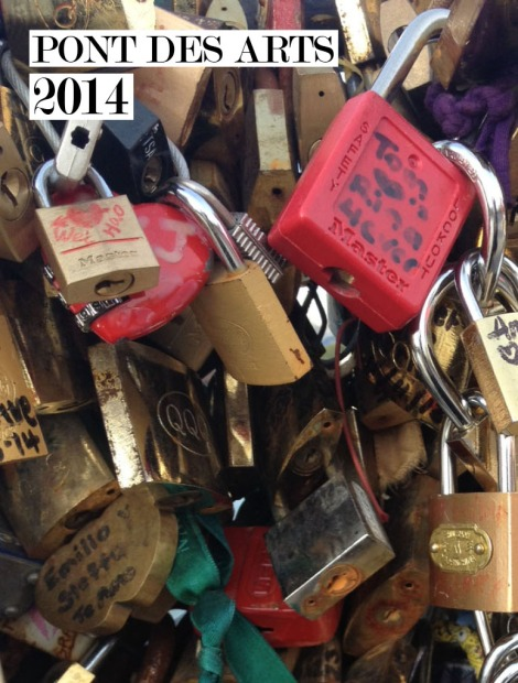 A segment of Pont des Arts in 2013—locks six inches thick