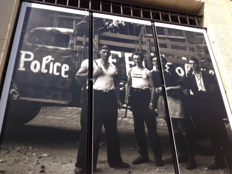 Huge photos from the era hang on the main police headquarters in Paris in honor of the 70th anniversary. When the Nazis decommissioned the French National Police during the occupation, the roque FFI, or French Forces of the Interior, was born. These guys are pretty damn impressive (and sexy).