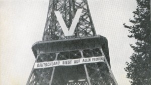 "Eiffel Tower, 1940. The banner says, ""Germany Victorious on All Fronts."" Meant to demoralize Parisians, it just fired them up. The French had cut the cables to the elevators so the Germans had to climb to hang these. rarehistoricalphotos.com"