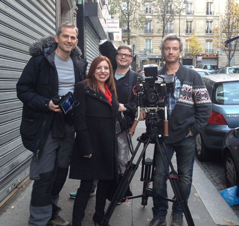 With the crew from London in Montmartre: l to r: Director, David Holroyd; Sound, Joe Saunders; Cameraman, Mike Hodder. Yes, I know, they were super cute.