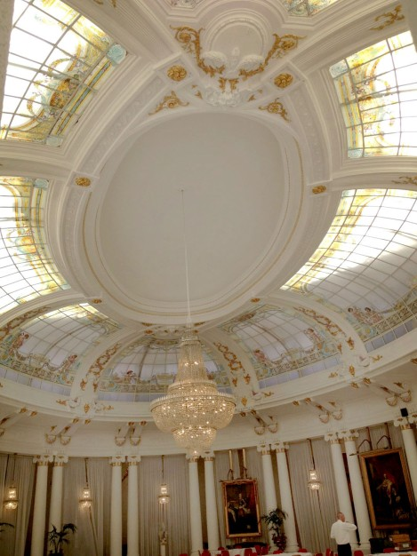 The glass ceiling at the Negresco Hotel designed by Gustave Eiffel. Photo: ©Lisa Anselmo