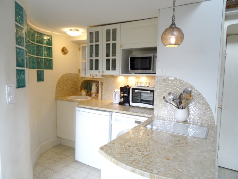 The fully stocked kitchen has hand-laid mosaic tiling. Photo: ©Lisa Anselmo