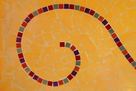 Detail of the mosaic in the apartment, but the same artist who created the tile work in the first apartment I stayed in.