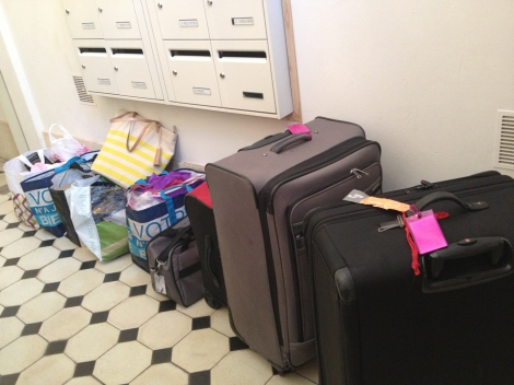 Clothes, groceries, computers and books—the stuff of a nomadic writer.