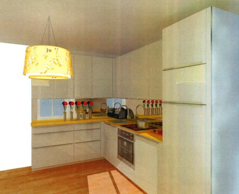 This was my architect's first design from 2013. Shiny white cabinets and a yellow glass counter with mirrored backsplash. This whole thing was €22,000. We had to winnow down from here, sadly.