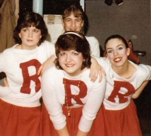 "How we met. The baby-faced ""Deux Lisas,"" (her, center; me, right), backstage at Grease, Pax Amicus Theatre of the Performing Arts. I made those costumes. Go Rydel High!"