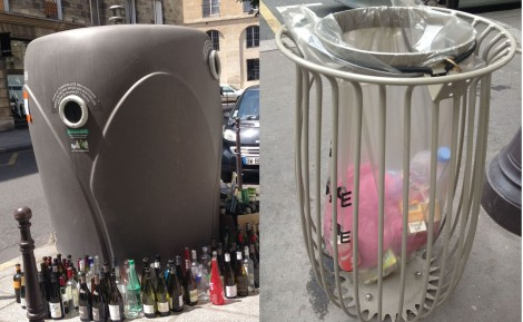 Greige recycling and trash containers in Paris.