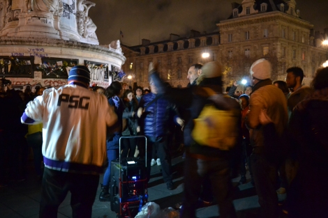 Make Noise and Light Movement in Place de la Republique. These guys got everyone dancing. Photo: Patty Sadauskas
