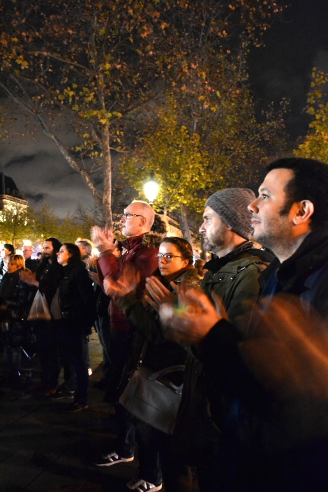 Place de la Republique. People applauded for one minute in solidarity. Photo: Patty Sadauskas, Paris on a Dime