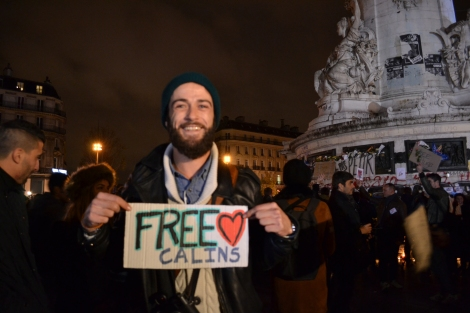 People giving out free hugs, or calins, at Place de la Republique. trust me, I hugged them all. Wouldn't you? Photo: Patty Sadauskas, Paris on a Dime