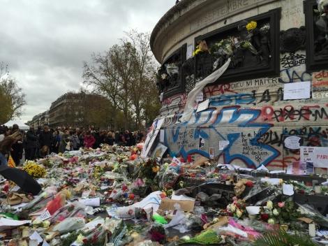 The growing memorial at Place de la Republique. ©Lisa Anselmo
