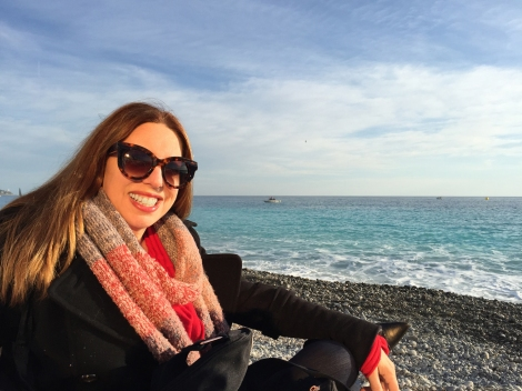 On a beach in Nice in November. This photo is proof of the joy and peace that Provence gave me.