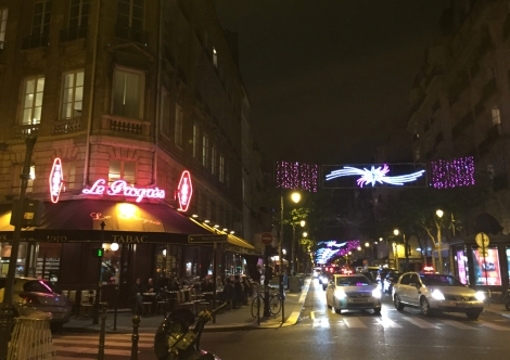Christmas swags across Rue de Bretagne. ©Lisa Anselmo