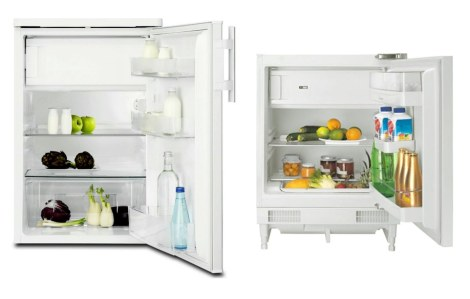 If I want the sleek look of a hidden refrigerator, or frigo encastrable, (right), vs. a standard under-counter model (sous plan), I sacrifice a lot of storage.