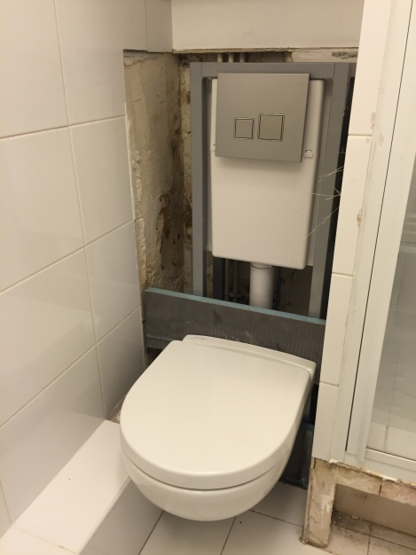 My new toilet in place. After everything dries out, the wall and tiles will be reinstalled.