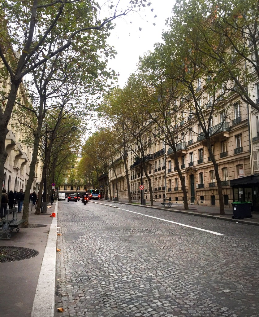 A quiet cobblestone street lined with classic Haussmannian buildings in Paris