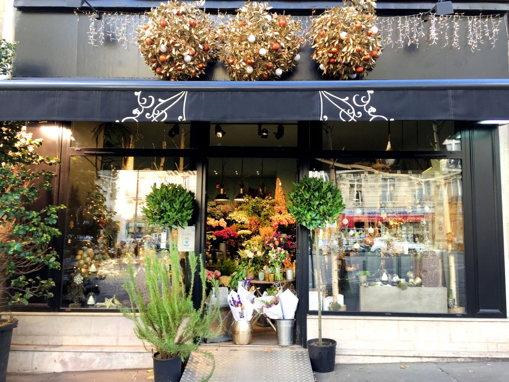 Florist in Paris decorated for the holidays