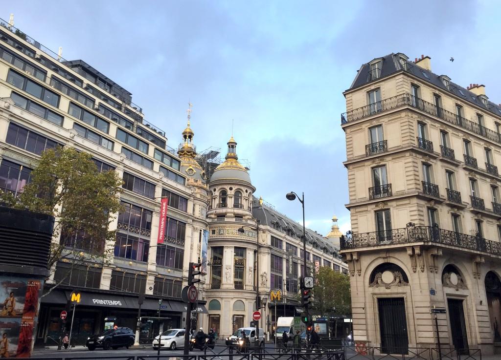 Printemps Department store on an empty Boulevard Haussmann during Lockdown in Paris